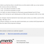 Epayments повысил тарифы на вывод.